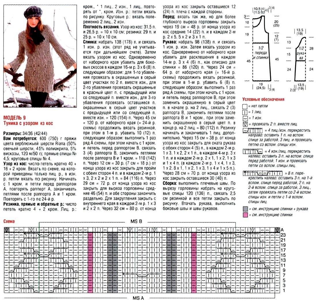Вязание туники узор и схема